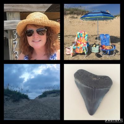 A happy redhead beach girl, my favorite blue chair, entryway to the beach, and the awesome fossilized shark's tooth I found.