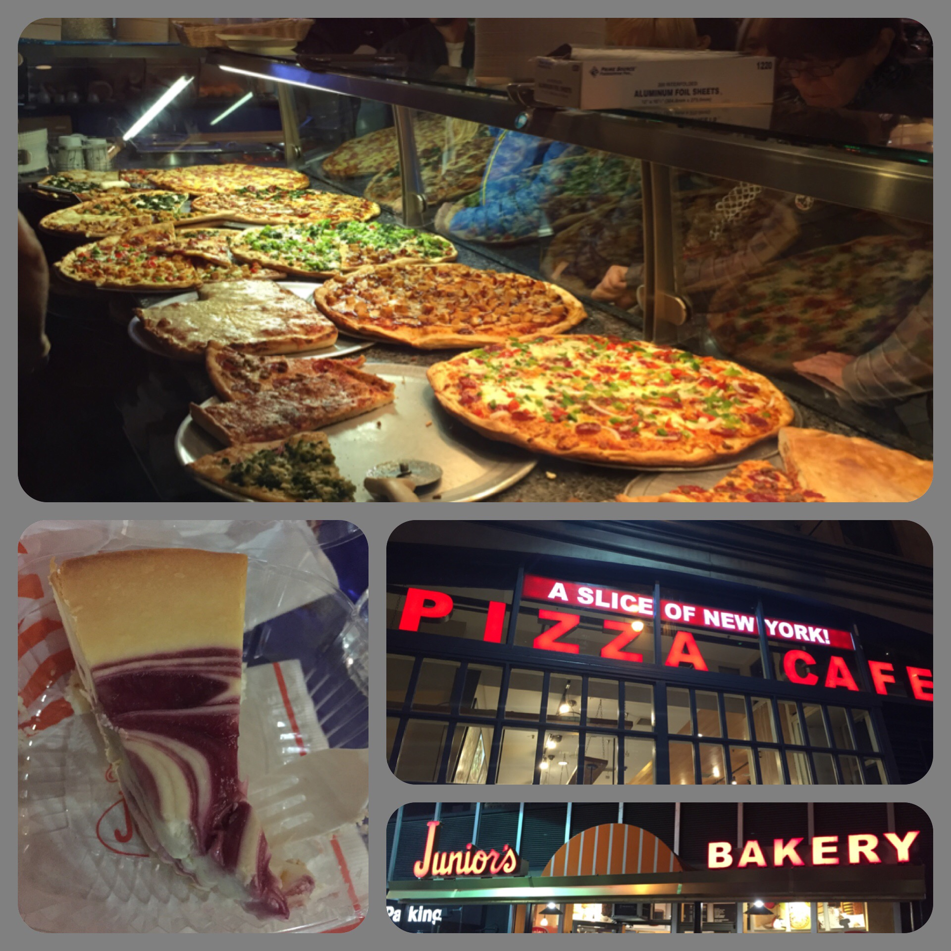 Authentic New York pizza and Junior's Cheesecake